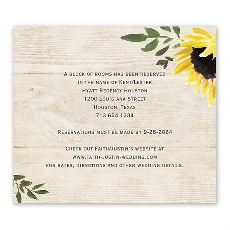 Golden Sunflower - Information Card