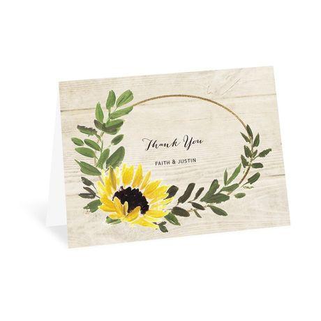 Golden Sunflower Thank You Card