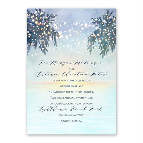 Tropical Sunset Invitation with Free Response Postcard