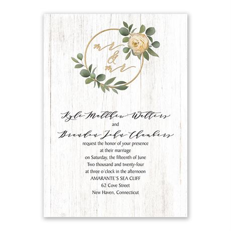 Greenery Wreath - Mr. and Mr. - Invitation with Free Response Postcard