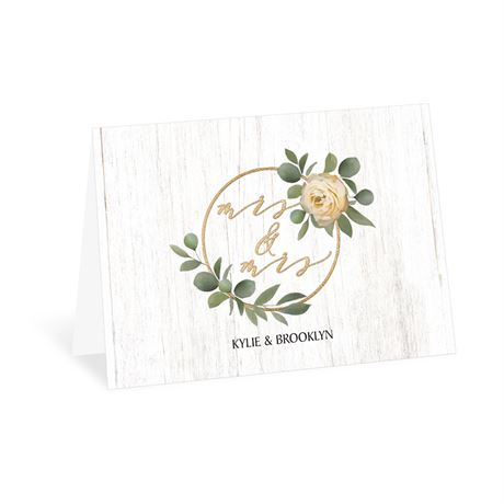 Greenery Wreath - Mrs. and Mrs. - Thank You Card