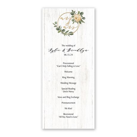 Greenery Wreath Mrs. and Mrs. Wedding Program