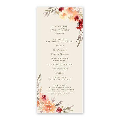 Apricot Floral Wedding Program
