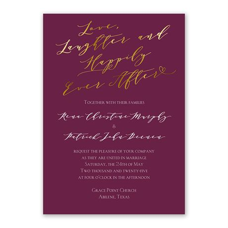 Happily in Love - Invitation with Free Response Postcard