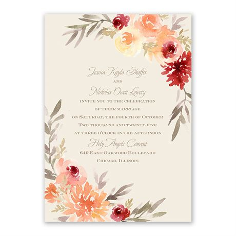 Apricot Floral Invitation with Free Response Postcard