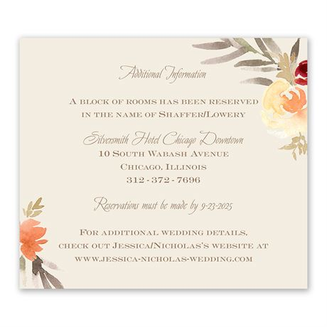 Apricot Floral Information Card