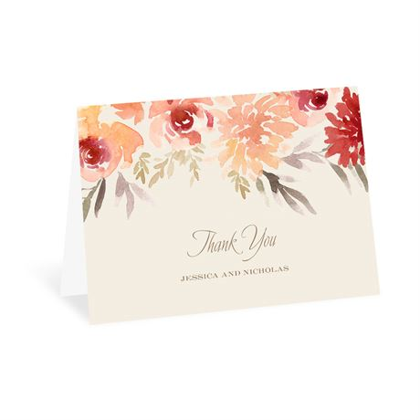 Apricot Floral Thank You Card