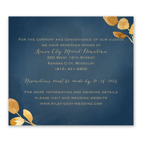 Golden Leaves Navy Information Card