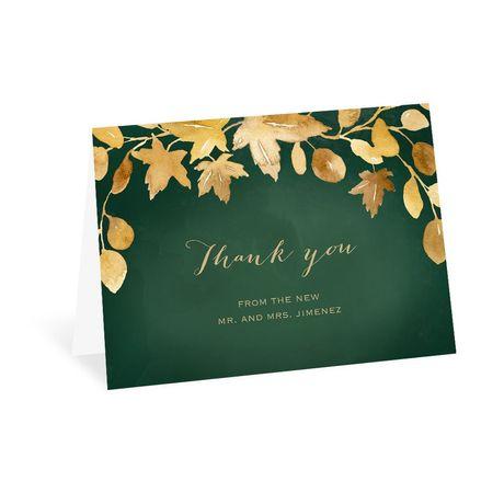 Golden Leaves Hunter Thank You Card