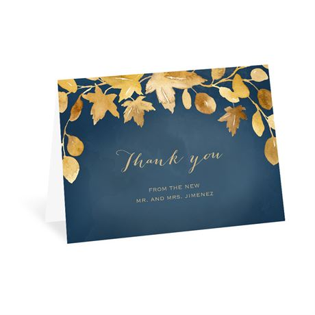 Golden Leaves Navy Thank You Card