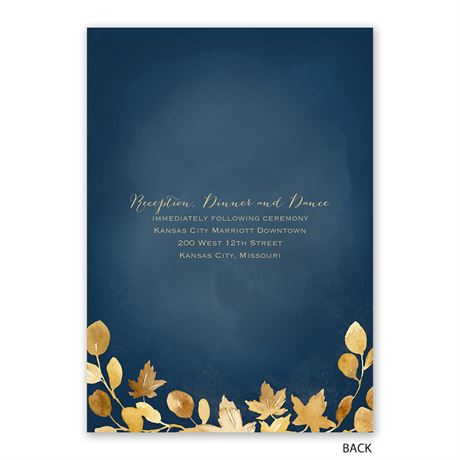 Golden Leaves - Navy - Invitation with Free Response Postcard