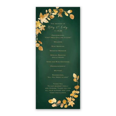 Golden Leaves Hunter Wedding Program