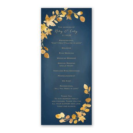 Golden Leaves Navy Wedding Program
