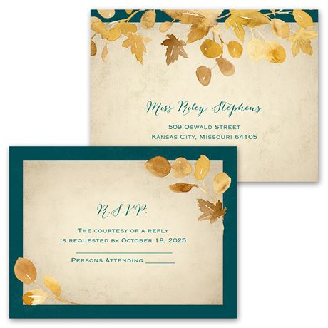 Golden Leaves - Pool - Invitation with Free Response Postcard