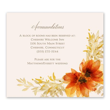 Autumn Blossoms Information Card