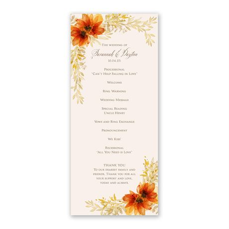 Autumn Blossoms Wedding Program