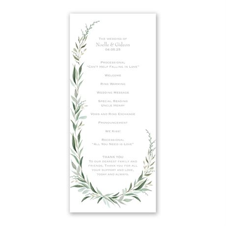 Wrapped in Greenery Wedding Program
