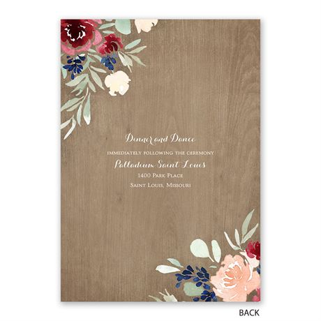 Natural Blooms - Invitation with Free Response Postcard