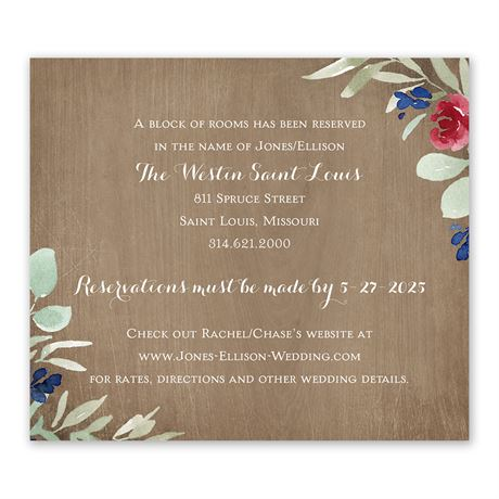Natural Blooms Information Card