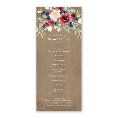 Natural Blooms Wedding Program