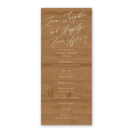 Natural Love Timber Wedding Program