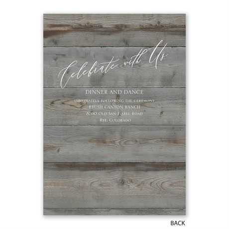 Natural Love - Pewter - Invitation with Free Response Postcard