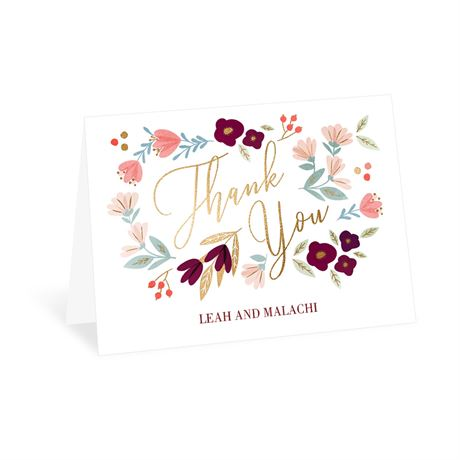 Whimsical Blooms Thank You Card