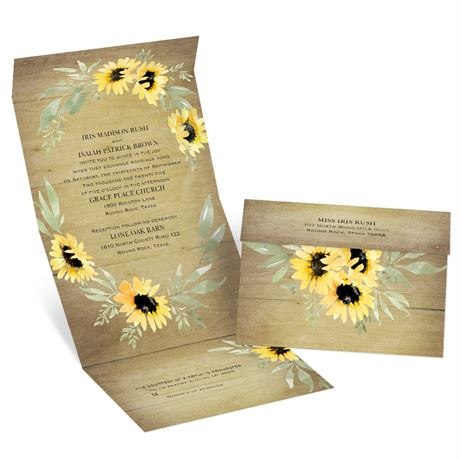 Natural Sunflower - Seal and Send Invitation