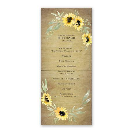 Natural Sunflower Wedding Program