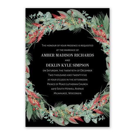 Golden Greens Ebony Invitation with Free Response Postcard