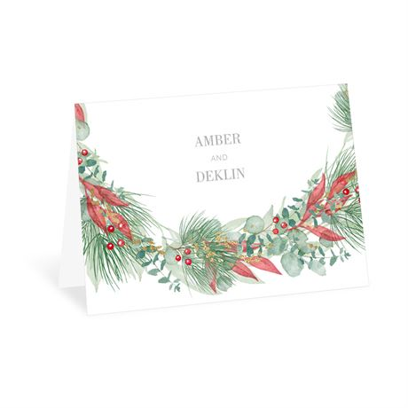 Golden Greens White Thank You Card