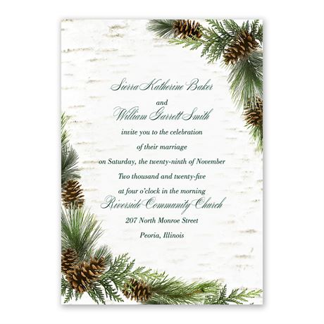 Winter Birch Invitation with Free Response Postcard