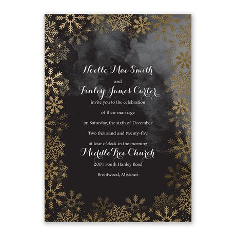 Sparkling Flurry Gold Invitation with Free Response Postcard