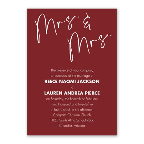 Classic Couple Mrs. and Mrs. Invitation with Free Response Postcard