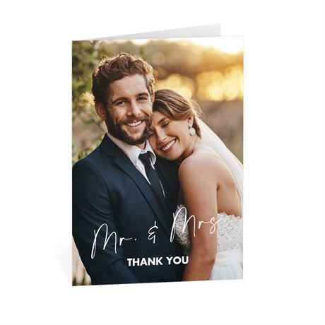 Classic Couple Mr. and Mrs. Thank You Card