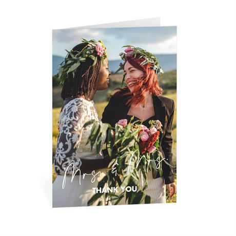 Classic Couple Mrs. and Mrs. Thank You Card
