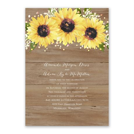 Sweet Sunflowers Invitation with Free Response Postcard