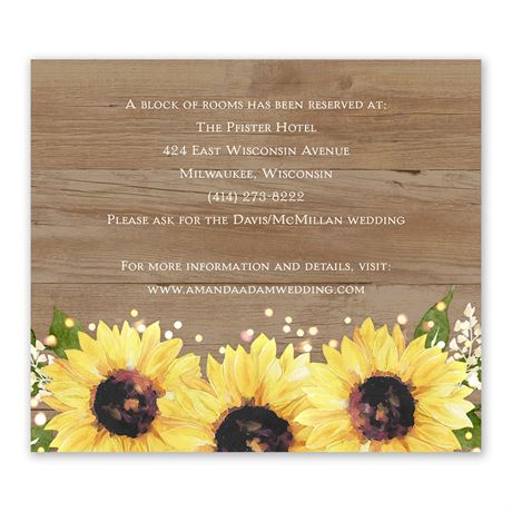 Sweet Sunflowers Information Card