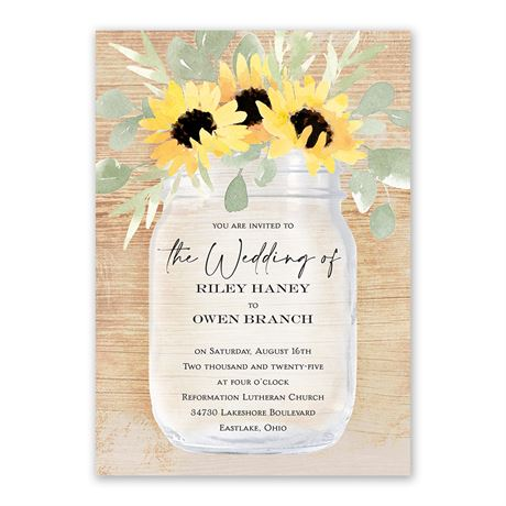 Pretty Sunflower Invitation with Free Response Postcard