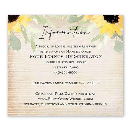 Pretty Sunflower Information Card