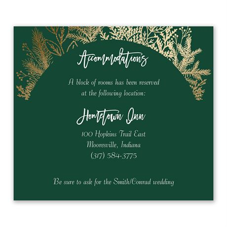 Golden Holiday Information Card