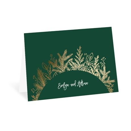 Golden Holiday Thank You Card