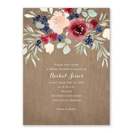 Natural Blooms Bridal Shower Invitation