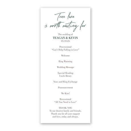 True Love Wedding Program