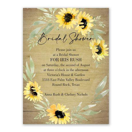 Natural Sunflower Bridal Shower Invitation