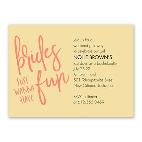 Brides Wanna Have Fun Bachelorette Party Invitation
