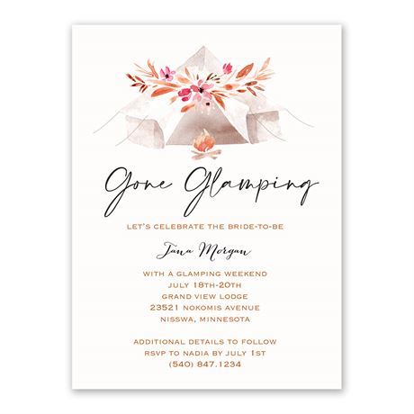 Gone Glamping Bachelorette Party Invitation