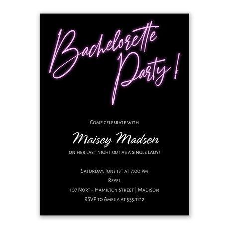 Neon Lights Bachelorette Party Invitation