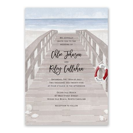 By the Seashore Invitation with Free Response Postcard