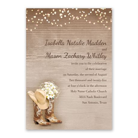 Country Chic Invitation with Free Response Postcard